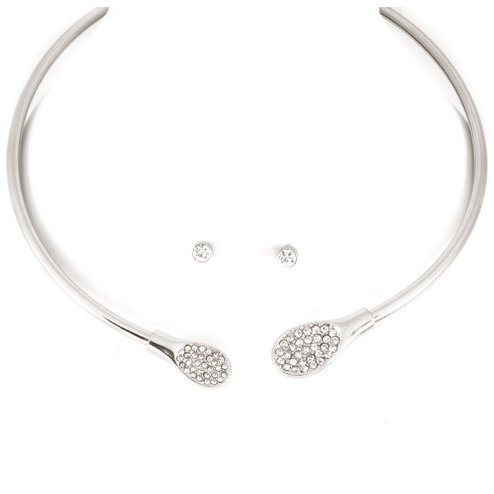 Silver Tone Pave Crystals Choker Necklace Set - Dazzle Her Now
