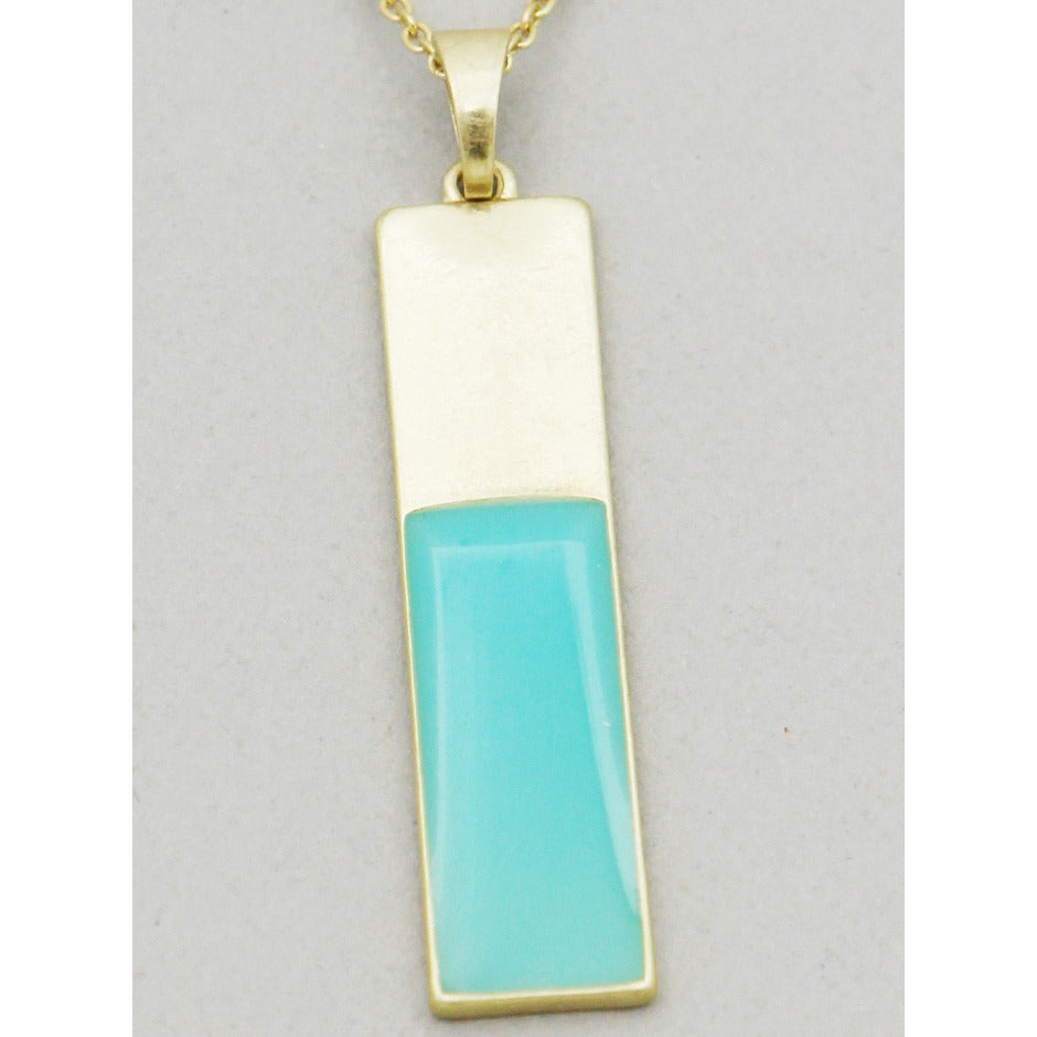 Dainty Aqua Gold Bar Charm Necklace - Dazzle Her Now
