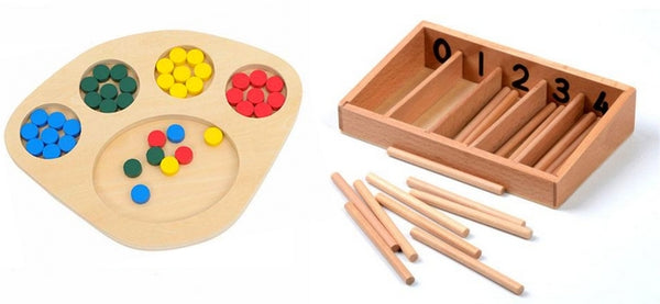 Montessori school material Sensorial - Color Sorting Tray and the Montessori Spindle Box