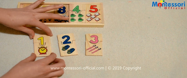 Numbers matching game activity wooden tiles
