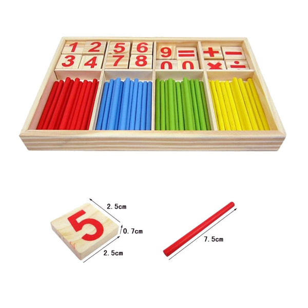 Cognitive educational toys – Math Learning Wooden Set Sticks Tiles Size