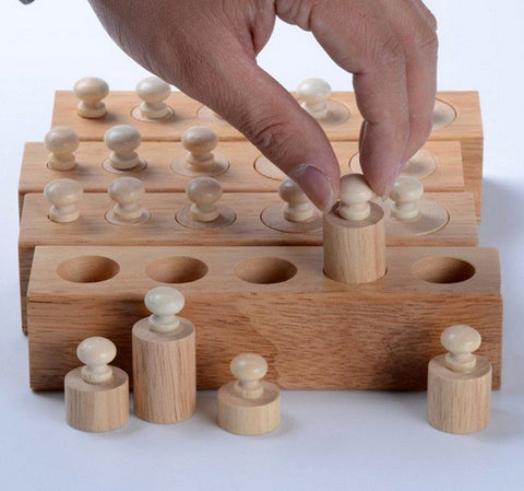 Cognitive Educational Toys - Knobbed Cylinder Blocks ABCD