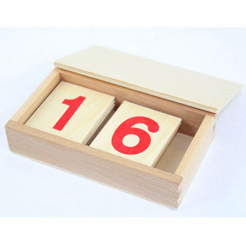 Red Numbers Wooden Cards
