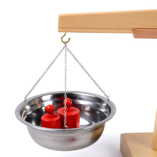 Cognitive educational toys – Wooden Balance Scale Metallic Dish