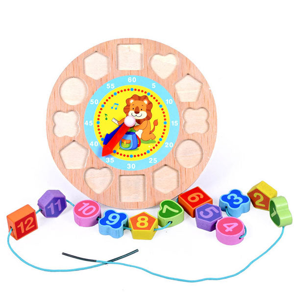 Cognitive educational toys – Wooden Learning Clock Lion Beads