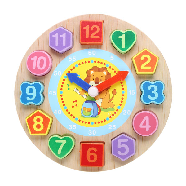 Cognitive educational toys – Wooden Learning Clock Lion