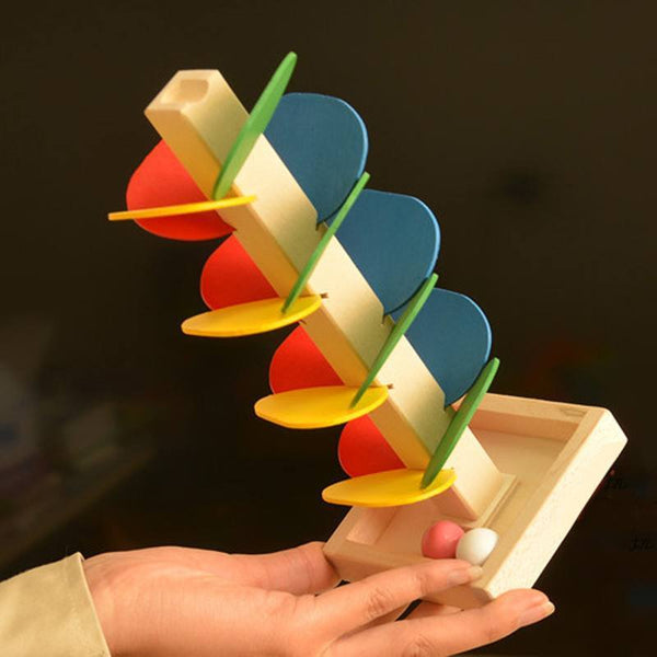 Hand-eye Coordination – Wooden Marble Tree Run Colored Petals