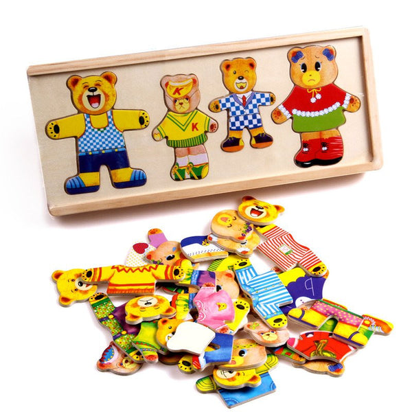 Hand Eye Coordination - Bear Family  Dress Up Puzzle