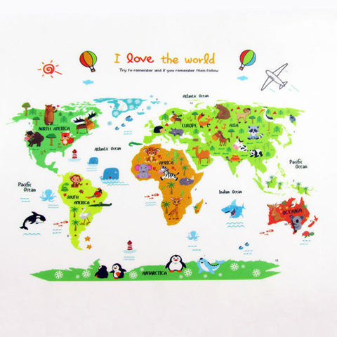 Cartoon Animal World Map Wall Sticker