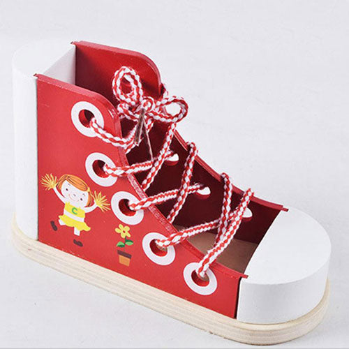 Red Wooden Lacing Shoe