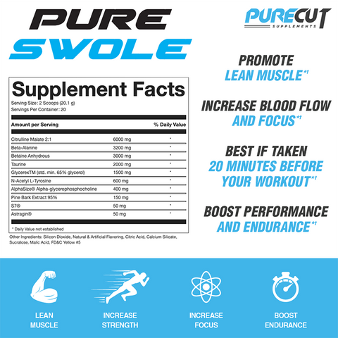 Pure Swole Non Stim Preworkout Supplement Facts