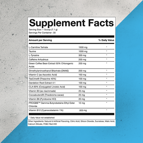 Pure Shred Fat Burning Preworkout Supplement Facts