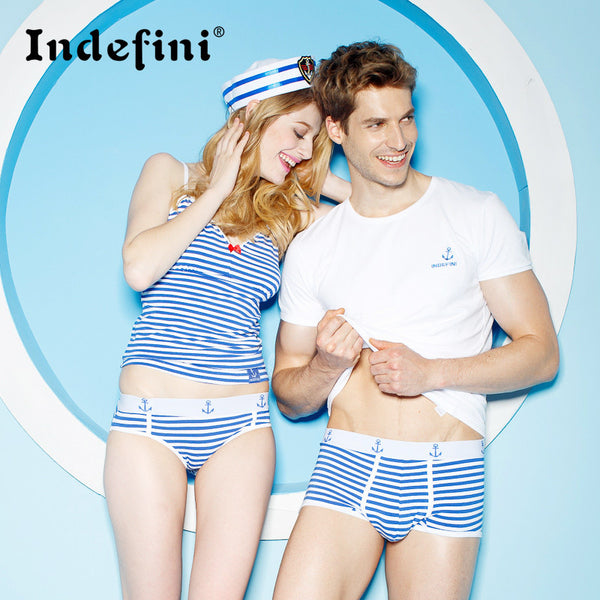 blue and white stripe panties lovers anchor 100% series lovers cotton sexy underwear