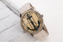 Sail Away Nautical Vintage Look Wrist Watch Men's Women's Denim Washed J017