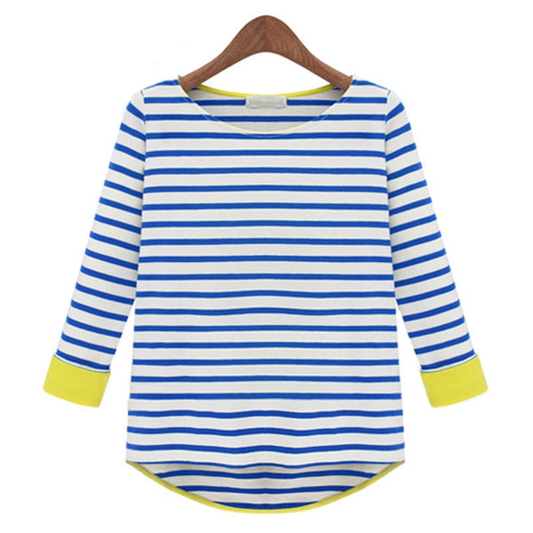 2016 Spring Autumn Women Striped Contrast Color  Long Sleeve T-Shirts O-Neck Loose Plus Size Tops Female Casual Tees W101