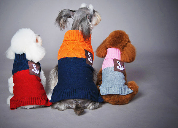 Free Shipping Autumn Winter Pet dog Sweater Sailor anchor pocket Sweater Teddy Clothing 4 Colors to choose