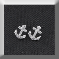 Anchor  Stud Earrings 925 Sterling Silver Nautical Beach Anchor Charm jewellry GTLE35