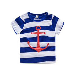 2015 summer Korean version new fashion boys anchor print striped t-shirt casual short sleeve cotton t-shirts     TX-5615