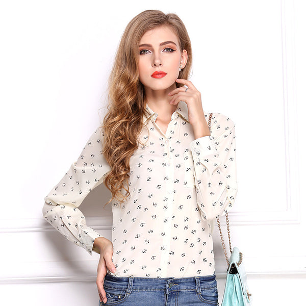 Anchor Print Chiffon Long Sleeve Blouse