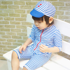 iYiya Blue Striped One Piece Bathing Suits Boys Swim Trunks Shorts Spandex Summer 2016 With Hat Boys Swimwear Kid Costume 1-7T