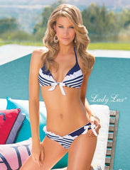 Blue Nautical 2014 Hot Triangle Striped  Bikini Set For Women, Push Up Vintage Swimsuit Swimwear, womens Bathing suit
