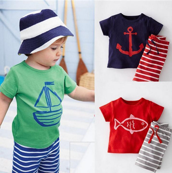 2015 baby clothes girls boys cotton short-sleeved t-shirts  + stripe pants sets kids anchor Pirate ships cartoon suits