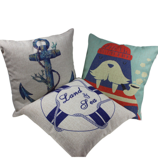 Mediterranean blue ocean winds creative pillow anchor rudder seals afternoon peace of cotton pillow cover
