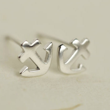 Genuine 925 Sterling Silver Plain Nautical Beach Anchor Stud Earrings Charm GTLE317