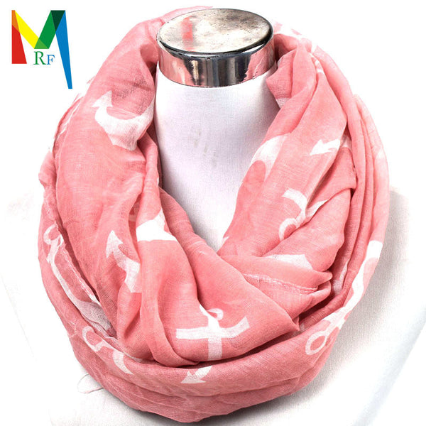Hot Sale 2015 New Hot Fashion Voile Big Large Sailing Boat Navy Anchor Print Wrap Shawl Cotton Scarf Women Charm Neckerchief