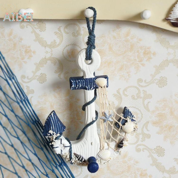 Mediterranean style Wood thermometer Anchor Hook, 3d wall decoration hang adorn Crafts,handmade nautical Home decor 17.4*3*28CM