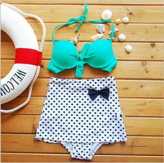 2016 New Summer Women High Waist Bikini Set Superior Dot Bow Halter Bikini Swimwear Bathing Suit Underwire Sexy Beach Swimsuit