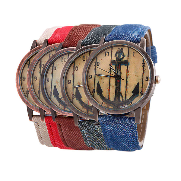 relogios feminino Nautical Design Men Women Dress Watches Imitation Canvas Watches Analog Quartz Vintage Anchor Watch