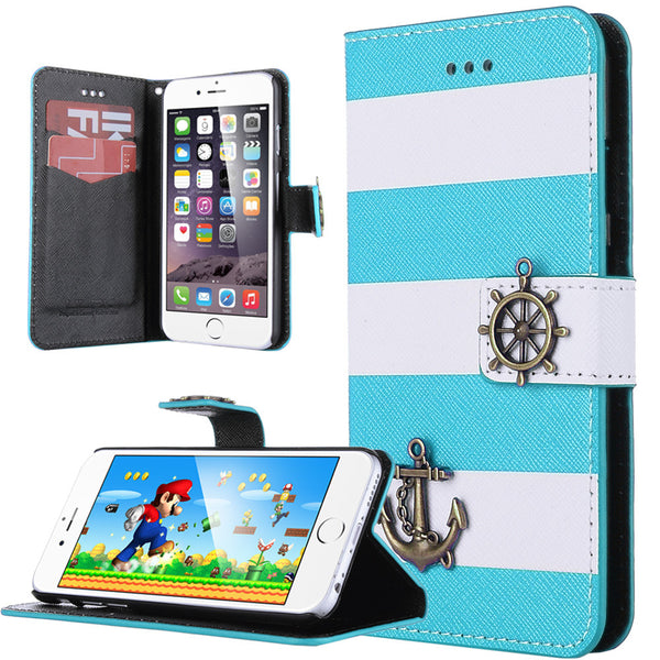 ULAK PU Leather Wallet Flip Case Stripes Anchor Rudder Nautical Design Case Cover for Apple iPhone 6/6s(4.7 inch)
