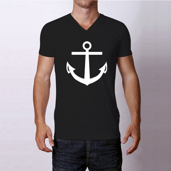 Summer Fashion Anchor Men T Shirts V Neck Top Tees Short Sleeve Clothes Casual Man Clothing Cotton Tshirts S M L XL XXL