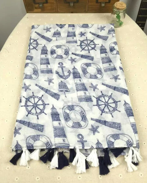 2016 Navy Blue And White Anchor Scarf Tassels Small Fresh Hand-drawn Cartoon Style Balinese Shawl Scarves
