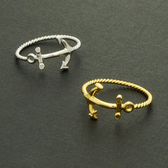 Fashionable Jewelery Navy Nautical Charm Sea Jewelry Gold Anchor Ring