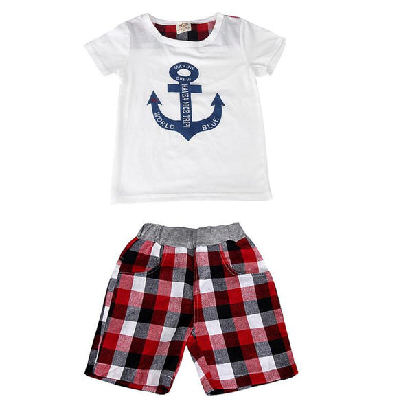 2015 new Anchor pattern stripe suit children Short Sleeve T-shirt And Shorts