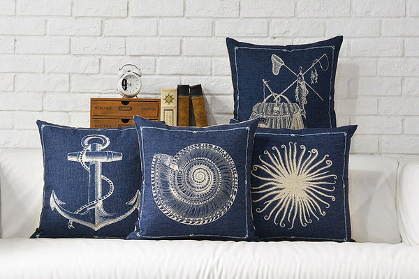 Free shipping mediterranean style anchor conch sea anemone fish pattern navy blue cushion cover decorative throw pillow case