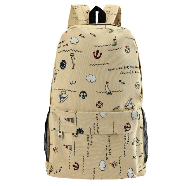 New Fashion Men Women Canvas Backpack Nautical Print Large Capacity Student School Bag Unisex Outdoor Casual Bag