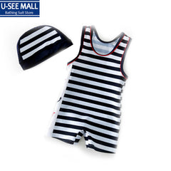 For 2-6 Years 2015 New Hot Sale Child Boys One-Piece Swimming Suit Lovely Striped Printed Children Rash Guards UV Protection