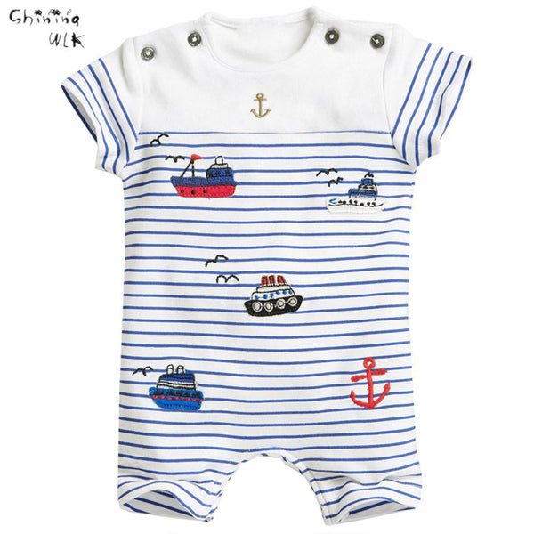 2016 Hot Sale Summer Baby Boys Clothes Rompers Baby Jumpsuit European Style Ship Anchor Print Striped Baby Clothes Boys Rompers