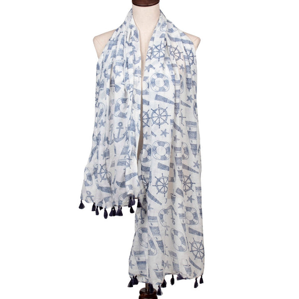 summer marine anchor scarf for lady light blue white color with  tassels free shipping
