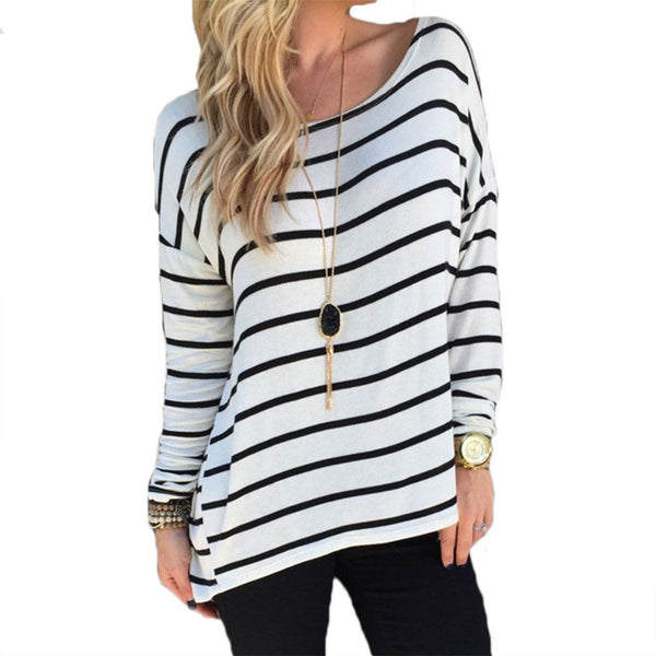 black and white striped shirt long sleeve womens