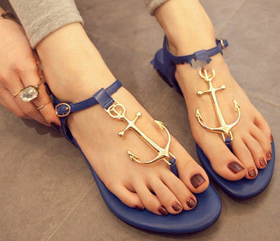 New 2014 Summer Women Sandal,GZ Pirates Anchor Sandals Flat Thong Rubber Sole Flip Flops Arrow Beach Shoes Sandalias Femininas
