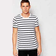 Men Round Neck Striped T Shirts