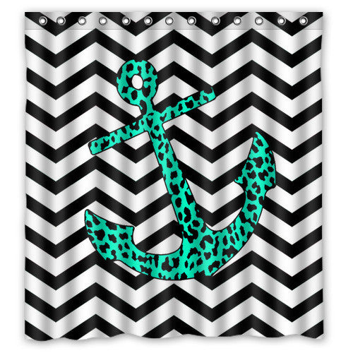 Fashion Popular Hook Shower Curtains Beautiful Chevron anchor Shower Curtains 66