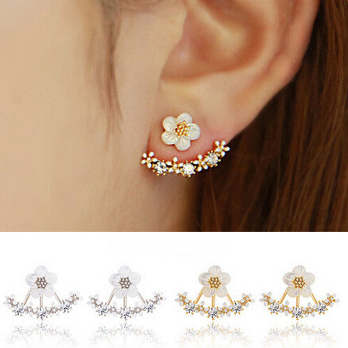 Fashion Earrings for Women Gold Silver Crystal Flower Stud Earring Jewelry Brincos Pendientes Mujer