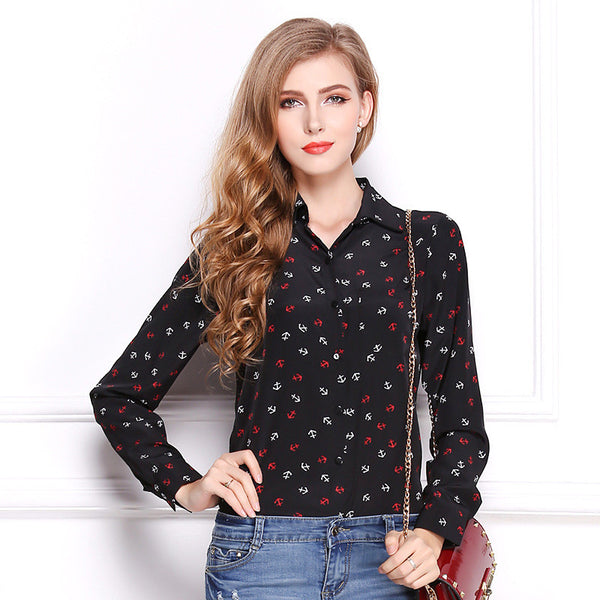Anchor Printing Loose Collar Bohemia JACQUARD PATTERNED KNIT Long Sleeve T-shirt PRINTED TOP Clothing for Women OL Ball party