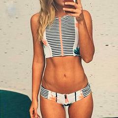 Nanafast 2016 New Summer Nautical Strip Zippered Women Bikini Swimsuit Sexy Fashion Push Up Bikini Set Beach SwimWear Biquini