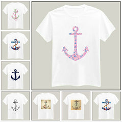 Anchors Print Tshirt For Men Women Cotton Casual Shirt White Top Tees Big Size S-XXXL Drop Ship TZ155-97